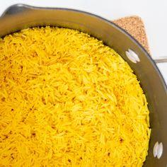 Turmeric Coconut Basmati Rice - HealthyGirl Kitchen Curry Recipes, Veggie Recipes, Mexican Food Recipes, Whole Food Recipes, Barley Recipes, Veggie Food, Healthy Recipes, Coconut Basmati Rice, Basmati Rice Recipes