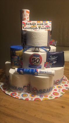 """50 jaar!!! Voor Abraham een """"schijt aan je leeftijd-taart"""" Abraham And Sarah, Birthday Gifts, Wraps, Gift Wrapping, Party, Kids, Birthday Presents, Gift Wrapping Paper, Young Children"""