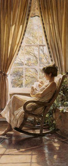 Steve Hanks (American, 1949–2015), watercolor {figurative art female barefoot woman and infant in rocking chair painting #arthistory} Serene!! stevehanksartwork.com