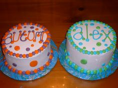 Polka dot - These are 6 in smash cakes for girl/boy twins.  All buttercream