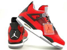 Mens Nike Air Jordan Retro 4 TORO BRAVO Basketball Shoes Fire Red/White/Black/Cement Grey 308497-603 Size 9