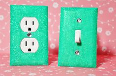 SET Of WINTER MINT Glitter Switch Plate & Glitter Outlet Cover by SwankElectric,  MORE COLORS & STYLES AVAILABLE!
