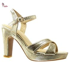 Angkorly - Chaussure Mode Sandale Escarpin plateforme sexy femme lanière boucle Talon haut bloc 10.5 CM - Or - PN1568 T 40 - Chaussures angkorly (*Partner-Link)