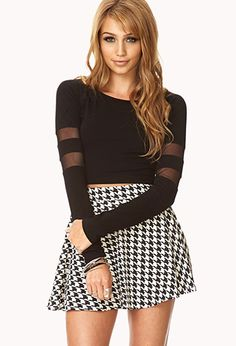 Standout Mesh Striped Crop Top | FOREVER21 - 2000074439