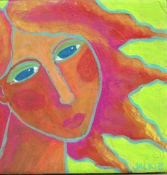 Hand Painted Ceramic Art Tile - Abstract Portrait