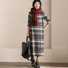 Women Casual Loose Retro Print Dress