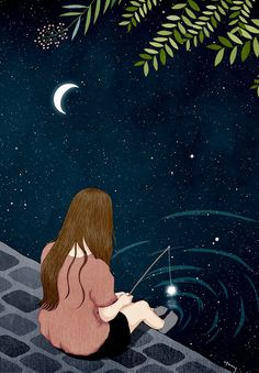 Beauty of living alone 💚 peace of mind ✌ illustration, 2019 art, illustrat Art And Illustration, Illustrations, Cartoon Kunst, Cartoon Art, Cartoon Wallpaper, Anime Scenery, Moon Art, Anime Art Girl, Aesthetic Art