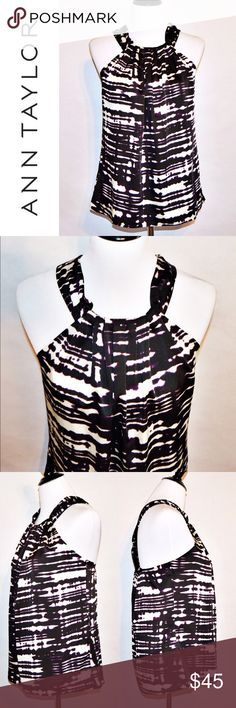 """NWT Ann Taylor Blouse NWT Ann Taylor Top 96% Polyester / 4% Spandex   NWT. No rips or stains. Colors are black, white, and purple. Measurements taken via flat lay.  Measurements Size 10-Chest:17 across / 34"""" around, Length:25""""  🔆Bundle 2 items = 10% OFF 🔆Bundle 3 or more = MAKE OFFER Ann Taylor Tops Blouses"""