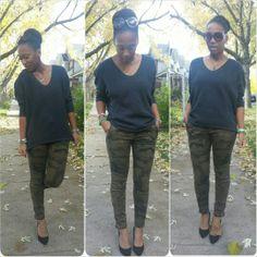 Express sweater, Zara camo pants, Ninewest heels