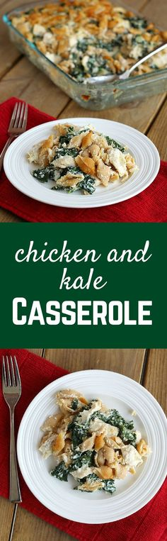 This Chicken and Kale Casserole is perfect if you want an easy weeknight meal or want to bring it to a family would needs a bit of help with meals. Get the recipe on RachelCooks.com!