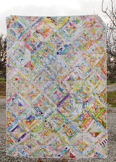 Sew Handmade by Jodie: Vintage Sheets String Quilt. www.sew-handmade.blogspot.com.