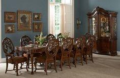 Homelegance Montvail 9PCs Cherry Wood Dining Set