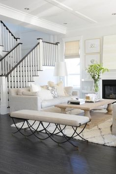 This home is gorgeous! Love the dark word contrast with the whites and neutrals. So light, airy and lovely! | Home Tour | http://monikahibbs.com