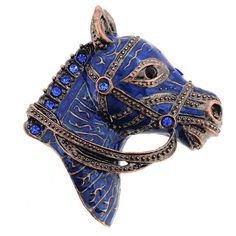 Vintage Style Navy Blue Horse Head Pin Brooch - Fantasyard Costume Jewelry & Accessories