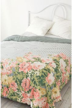 Reversible Cabbage Rose Quilt ~ Urban Outfitters this is 100% me. part floral part stripes...