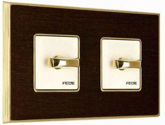 light switch with wood finishing VINTAGE WOOD WENGE  FEDE