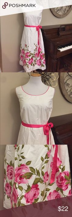 Jessica Howard Size 20W Belted Pink & White Dress Excellent Condition! Size 20W Dress by Jessica Howard. So pretty! Jessica Howard Dresses Midi