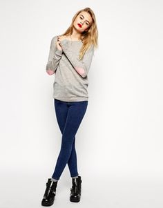 Sweater With Pink Heart Elbow Patch