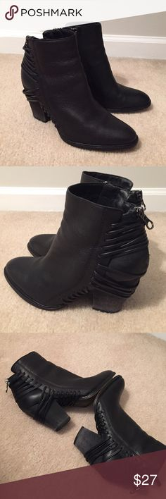 "Dolce Vita✨Black Ankle Booties Vegan leather bootie. Nice condition. The heels look distressed in color. See pic 3. Heel height approx 3"" Dolce Vita Shoes Ankle Boots & Booties"