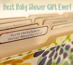 Best Baby Shower Gift Ever! Here are the 12 categories I used:  Birth Certificate & Social Security Card Keepsakes Milestones Pediatrician Visits Immunization Records Other Health Records Insurance Paperwork Nursing/Feeding Info Parenting Articles/Pamphlets Receipts/Warranties Manuals Miscellaneous