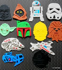 12 Fondant Star Wars theme Inspired Toppers