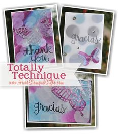 learn to create the awesome Bokeh effect for cards and layouts using Butterfly thinlits and watercolor Thank you and Gracias stamps with http://www.handstampedstyle.com Totally Technique Class for Feb.
