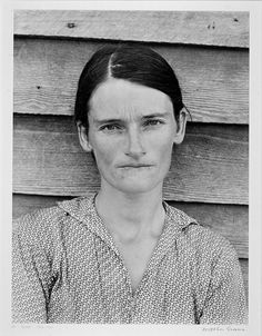 Walker Evans (American, 1903–1975)   Allie Mae Burroughs, Wife of a Cotton sharecropper, Hale County, Alabama, 1936   1936, printed 1971   Gelatin silver print   Purchase with funds from a friend of the Museum   74.82 L