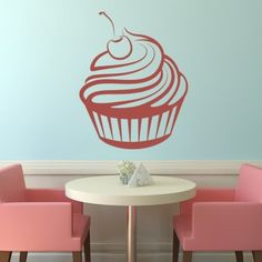 Cherry Cupcake Wall Art Sticker Wall Decal - Cup Cakes - Kitchen - Home & Living Wall Stickers Love, Kitchen Wall Stickers, Wall Decals, Heart Wall Art, Love Wall Art, Home And Living, Cherries, Future House, Cupcake