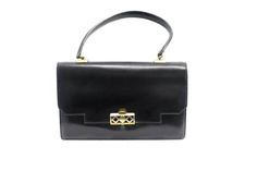 """Hermes """"grille"""" Bag In Black Box Leather, Gold-plated Hardware"""