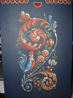 I love rooster everywhere even painting hindeloopen. Detail from a box painted by Hatice Okan.