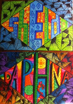 Naam in zelfontworpen letters. Name Art Projects, Classe D'art, Middle School Art Projects, 8th Grade Art, Ecole Art, Art Lessons Elementary, Deep Space Sparkle, Elements Of Art, Art Classroom
