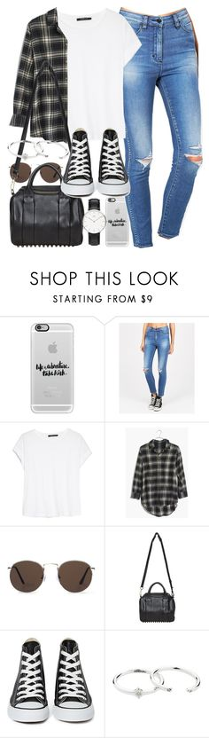 """Outfit for university with a flannel for spring"" by ferned ❤ liked on Polyvore featuring Casetify, MANGO, Madewell, Alexander Wang, Converse and Zimmermann"