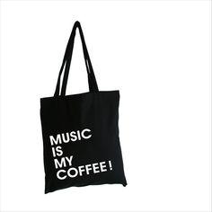 "Jutebeutel, Baumwolltasche ""music is my coffee"" // tote bag by Lemonsky via dawanda.com"