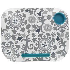 Study sessions are a little more fun with this gray and turquoise floral lap desk.