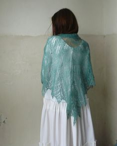 Lace Handknitted Triangular Shawl Scarf Wrap, Leaves Shawl, Green, Color Greenstone, kid-mohair, gift for women