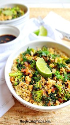 Sesame Kale Glow Bowl - vegan + gf - Simple, nourishing, flavorful and filling with tempeh, kale, quinoa, broccoli, sesame seeds and a soy ginger sauce, plus it takes only 20 minutes to throw together! From The Glowing Fridge