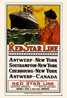 RED STAR LINE Poster Nautical Travel Poster by EncorePrintSociety