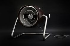 The motor 150W is equipped with smooth speed regulation [potentiometer]. Set includes also the power supply based on the transformer with smooth speed adjustment system and PC exit [Mosquito/ BLACK BOX]. The fan is mounted on a steel leg and is tilt adjustable. The propeller is enclosed by stretched dacron. The fan is entirely handmade and unique.