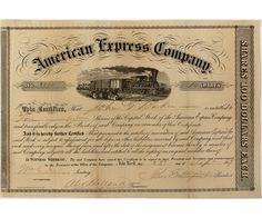 American Express Company 1859 Stock Certificate