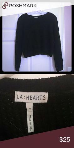 Cropped black sweater LA Hearts black cropped sweater. Worn a few times, like new. Medium but runs a little small. LA Hearts Sweaters