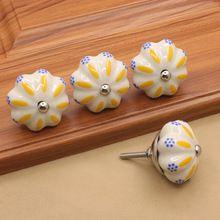 6 pcs de Cerâmica Pintados À Mão Cupboar Puxa Maçanetas de Gaveta Do Armário Da Cozinha Móveis Knob Handle Hardware Puxadores Do Vintage(China)