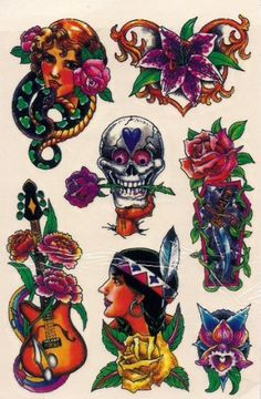 Skull and Red Indian Temporary Tattoos by Temporary Tattoos. $5.99. Easy to apply, easy to remove You can use different designs to go with any occasion or outfit. They do not leave any permanent marks like the real thing, so you have the option to change looks regularly! They are completely safe. Try some on and see what happens... you never know!!  How to apply:  1.Cut out tattoo of choice and remove clear sheet.  2. Place tattoo face down on skin  3. Wet the tattoo...