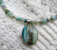 Peruvian Opal Pendant hanging on thread of peruvian opal by PeruNz,