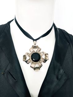 Vtg 70's GIVENCHY PARIS Rare Couture Statement Pendant-Silver Ribbon Diamond Rosette w Large Round Inset Black Jet Facetted Stone - Stamped.