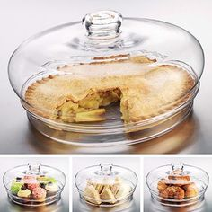 Glass Pie Dome - Love this! Cute Gift… Homemade Pie Under This Great Dome! Cake Stand With Dome, Cake Dome, Tupperware, Homemade Pie, Kitchen Items, Kitchen Stuff, Kitchen Gadgets, Pie Plate, Cake Plates