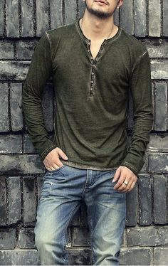 Olive Henley with light wash denim #olive #henley #casualstyle #casual #denim #menswear #mensfashion #menstyle