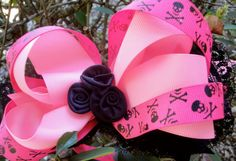 Pink skull boutique bow by Hollywoodtutu on Etsy