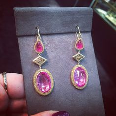 How pretty are these @amalijewelry #earrings?? Pink sapphire and pink topaz, if I remember correctly. #globalDESIGN