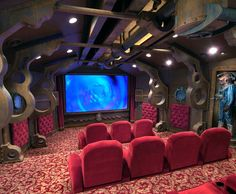 This nautical space:   13 Home Theaters We'd Pay To Watch MoviesIn I WANT ALL OF THEM!