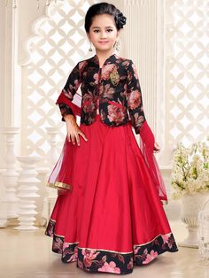 Shop Red silk dressy lehenga choli online from India. Kids Dress Wear, Kids Gown, Party Wear Dresses, Children Dress, Children Clothes, Kids Wear, Frocks For Girls, Little Girl Dresses, Girls Dresses